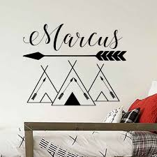 Customized Name Wall Decals Tribal Mountains Wall Stickers Mountain Style Woodland Wall Art Mural Kids Room Nursery Art Ay949 Wall Stickers Aliexpress