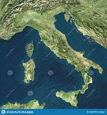 Satellite View Of Italy. Italian Physical Map, Reliefs Plains And ...
