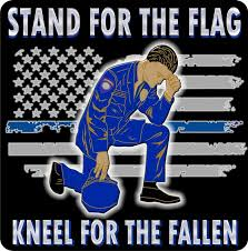 Stand For The Flag Kneel For The Fallen Thin Blue Line Reflective Flag Decal Policetees Com
