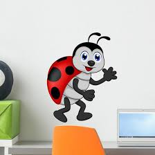 Funny Lady Bug Cartoon Wall Decal Wallmonkeys Com