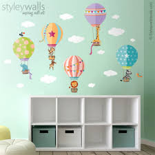 Hot Air Balloons Jungle Safari Animals Wall Decal Sticker For Nursery Styleywalls On Artfire