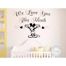 We Love You This Much Mickey Mouse Nursery Wall Sticker Baby Boy Girl Bedrrom Decor Decals