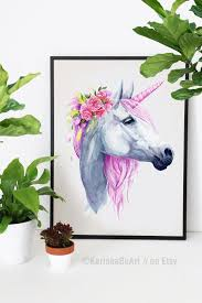 Watercolor Unicorn Clipart The Last Unicorn Wall Decal Floral Etsy