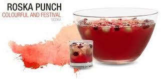 festive roska punch with vodka and rose