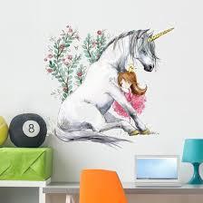 White Unicorn And Princess Wall Decal Wallmonkeys Com