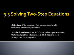 ppt 3 3 solving two step equations