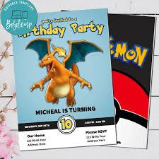 Editable Pokemon Charizard Cumpleanos Invitacion Archivo Digital