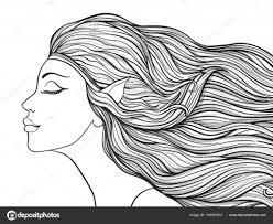 Mooi Meisje Met Elven Oren En Lang Haar Voorraad Lijn V