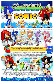 Kit Imprimible Sonic Candy Bar Fiesta Kit Imprimible