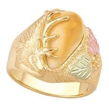 men s elk ivory black hills gold ring