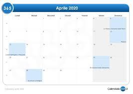 Calendario aprile 2020