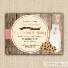 Rustic Milk And Cookies Birthday Invitations Diy Printable