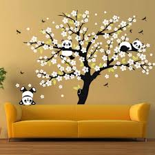 Huge White Cherry Blossom Tree Wall Stickers Nursery Decorative Decals Playing Panda Wall Decal For Kids Room Sofa Background Panda Wall Decal Wall Decalsblossom Tree Aliexpress