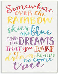 Amazon Com The Kids Room By Stupell Somewhere Over The Rainbow Watercolors Wall Plaque 10x15 Design By Artist Erica Billups Home Kitchen