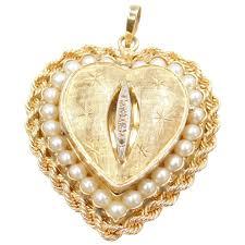 14k gold big perfume heart locket