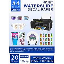 Amazon Com Water Slide Decal Paper Inkjet 20 Sheets A4 Size Premium Water Slide Transfer Paper Clear Transparent Printable Waterslide Paper For Tumblers Mugs Glasses Diy Office Products