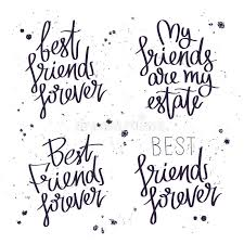 best friends forever trend calligraphy stock vector