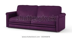 purple leather sofa isolated on white