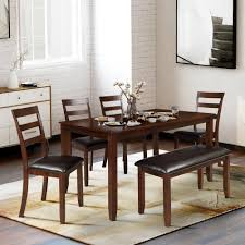 Harper Bright Designs 6 Piece Brown Dining Set With 4 Ladder Chairs And Bench Sm000136aad 1 The Home Depot