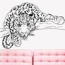 Cheetah Wall Decals Sticker Animal Leopard Decal Vinyl Art Bedroom Living Room Decoration Self Adhesive Children Room D753 Wall Stickers Aliexpress