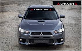 Amazon Com Mitsubishi Lancer Windscreen Decal White Red Black Automotive
