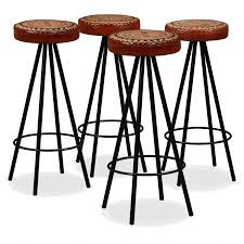 bar stools 4 pcs genuine leather and