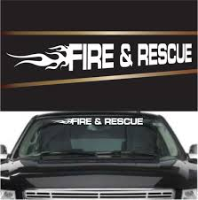 Fire Rescue Flame Custom Window Decals Topchoicedecals