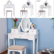 white vanity set with stool dressing
