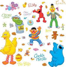 Amazon Com Lunarland Sesame Street 45 Big Wall Stickers Elmo Big Bird Abby Oscar Room Decor Decals Kitchen Dining
