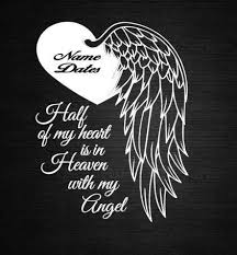 Angel Heart Wings In Memory Of Personalize Vinyl Decal Car Etsy Heaven Tattoos Dad Tattoos Remembrance Tattoos