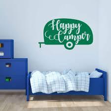 Happy Camper Quote Vinyl Wall Decal Outdoor Nature Wall Sticker Decor Customvinyldecor Com