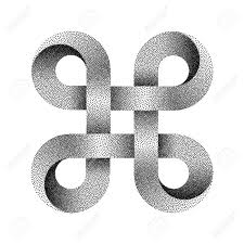 Stippled Bowen Knot Sign. Command Key Symbol Made Of Mobius Strip ...