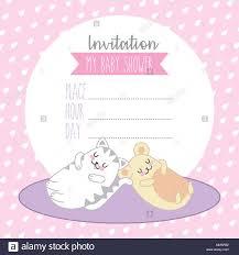 Tarjeta De Baby Shower Invitacion Del Raton Y El Gato Kawaii