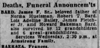 Obituary - James Fletcher Bard, 13 Nov 1956, LA Times, Page 48 -  Newspapers.com