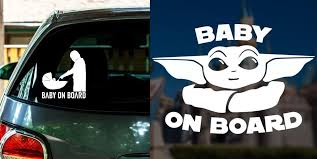 Baby Yoda Baby On Board Car Decals