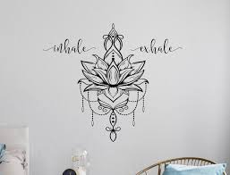 Inhale Exhale Wall Art Lotus Flower Decor Lotus Mandala Wall Decal Inhale Exhale Decal Breathe Wall Decal Yoga Wall Art Lotus Decal