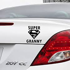Super Granny Car Vinyl Decal Funny Novelty Bumper Window Wall Sticker For Any Car Black Mother Day Gift Amazon Co Uk Car Motorbike