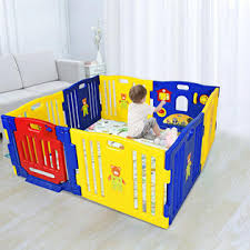 Topbuy Baby Playpen Safety Play Yard Fence Activity Centre Kids 8 Panel W Gate