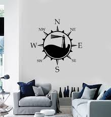 Vinyl Wall Decal Compass Nautical Lighthouse Beach House Marine Sticke Wallstickers4you