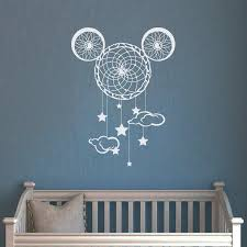 Cartoon Wall Decals Mickey Mouse Vinyl Decal Nursery Dream Catcher Sticker Kids Baby Decoration Sweet Home Bedroom Wall Decor 93 Leather Bag