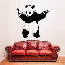 Amazon Com 71 X 70 Banksy Vinyl Wall Decal Panda With Pistols Street Graffiti Art Decor Sticker Removable Diy Home Mural Free Random Decal Gift Kitchen Dining