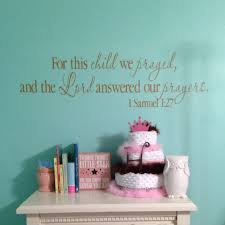 1 Samuel 1 27 Vinyl Wall Decal 1 For This Child We Prayed And The Lord Answered Our Prayers Scripture Bible Nursery Decal 1sam1v27 0001