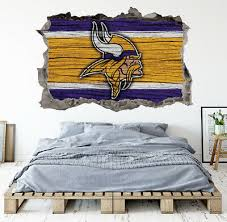 Minnesota Vikings Wall Art Decal 3d Smashed Kids Bedroom Wall Decor Wl157 Ebay