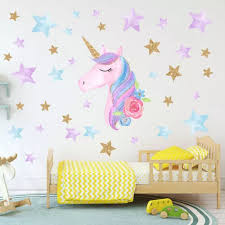 Hot Fantasy Unicorn Stars Rainbow Wall Sticker Girls Bedroom Wall Decal Art Decal Diy Nursery Home Decor Wall Stickers Aliexpress