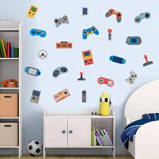 Amazon Com Iarttop Video Game Wall Decal 22pcs Creative Gaming Controller For Boys Room Kids Bedroom Decor Colorful Gamer Theme Decoration Arts Crafts Sewing