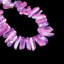 top drilled pink raw crystal quartz