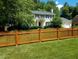 Stained Wood Poolesville Picket Fence Wood Picket Fence Fence Design Picket Fence Panels