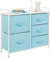 Amazon Com Mdesign Wide Dresser 5 Drawers Storage Furniture Wood Top Easy Pull Fabric Bins Organizer For Child Kids Room Or Nursery Polka Dot Pattern 32 6 W Turquoise Blue With