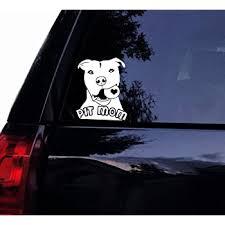 Amazon Com Tshirt Rocket Pit Mom Decal Pit Bull W Ball Sticker Pitbull Dog Car Decal Laptop Decal Car Window Mirror Sticker 6 White Automotive