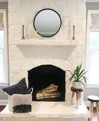 painted stone fireplace update with